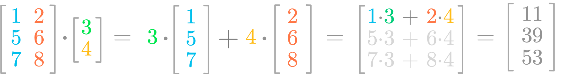 Figure 3: The vectors values are weighting the columns of the matrix.